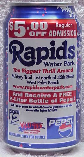 Rapids water park coupons pepsi cans